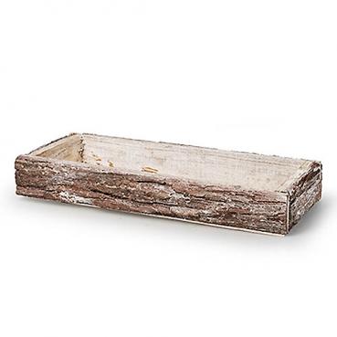 Holztablett, Gesteckunterlage, rechteckig mit Rindenummantelung, 34 cm