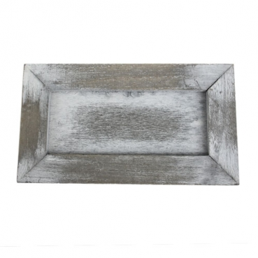 Holztablett, Gesteckunterlage, rechteckig in Grau-Weiß, 22,5 cm
