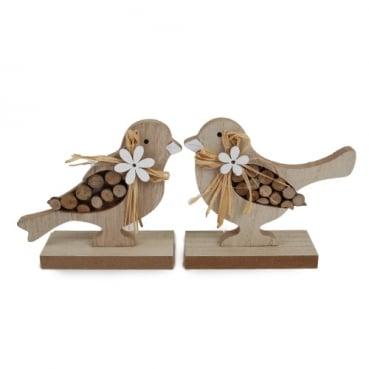 Holz Vogelpaar in Hellbraun/Weiß,  14 cm