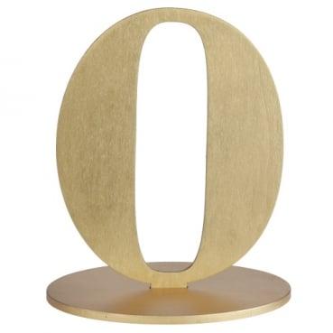 Holz Zahl 0 in Gold zum Aufstellen, 16 cm
