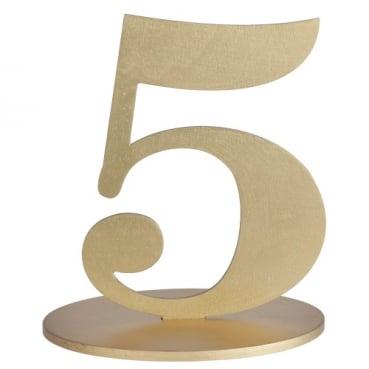 Holz Zahl 5 in Gold zum Aufstellen, 16 cm