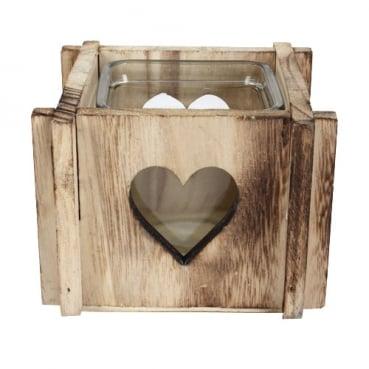 Holzbox mit Teelichtglas, Herzen, gekreuzte Ecken, 8,5 cm