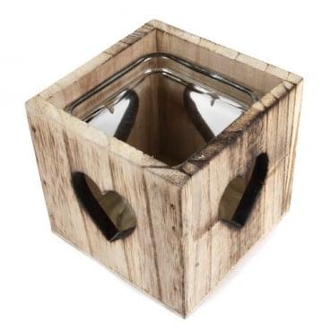 Holzbox mit Teelichtglas, Herzen, 9 cm