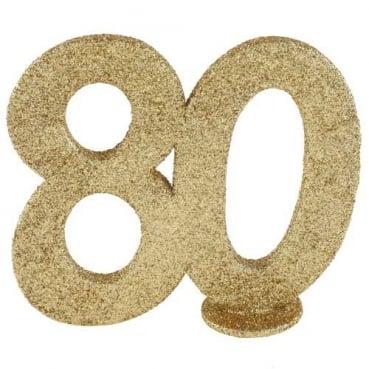 Jubiläumszahl 80 in Gold glitzernd zum Aufstellen, 10 cm