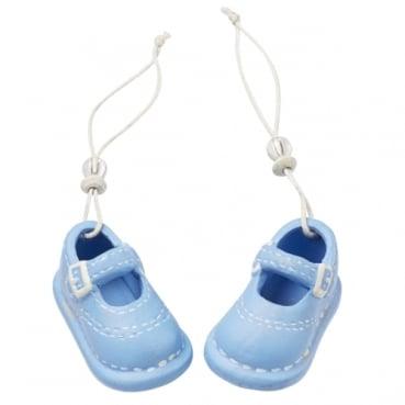 Keramik Baby Schuhe mit Schnur, Taufe in Hellblau, 53 mm