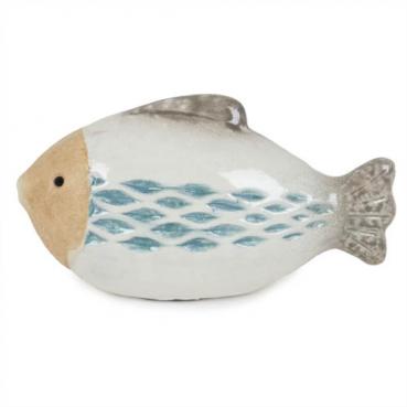 Keramik Fisch, oval, teilglasiert, 95 mm