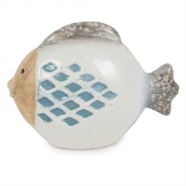 Keramik Fisch, rund, teilglasiert, 80 mm