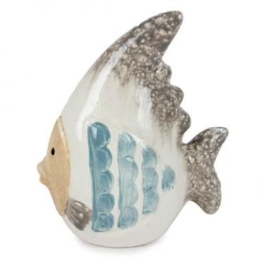 Keramik Fisch, spitze Flosse, teilglasiert, 85 mm