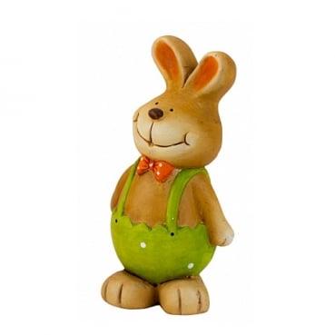 Keramik Osterhasen Junge mit Latzhose in Hellgrün, 16 cm