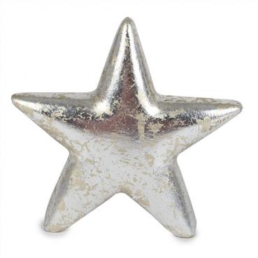 Keramik Stern, Weihnachten, in Antik-Silber, 11 cm