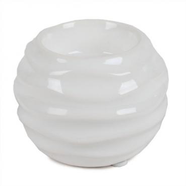Keramik Teelichthalter Kugel Twist in Weiß, 80 mm