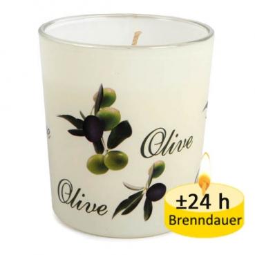 Kerze im Glas, Kerzenglas Olive, 78 mm