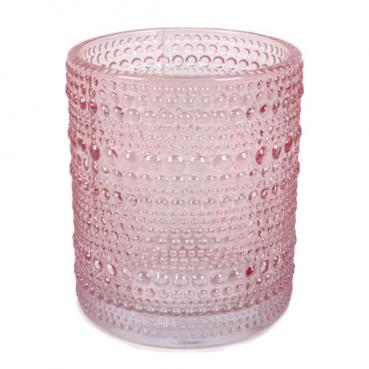 Glas Windlicht, Vase, Punkte in Rosa, 10 cm