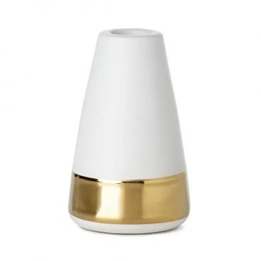 Duni Kerzenständer Generous in Weiß mit Goldrand, 11 cm