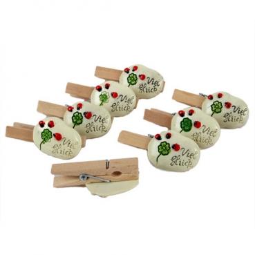 8 Glücksbringer Holz Klammern -Viel Glück-, 45 mm, für Gastgeschenke