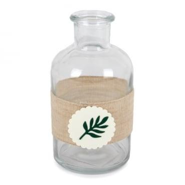 Glas Flaschen Väschen Olivenzweig, 12 cm