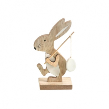 Holz Osterhase, Angel mit Osterei, 13 cm