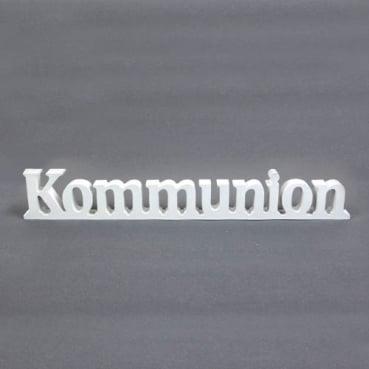 Holz Aufsteller Schriftzug Kommunion in Weiß, 40 cm