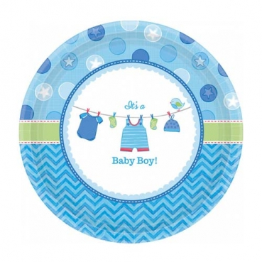 8 Kuchenteller Baby Shower Party, Baby Boy, 17,8 cm