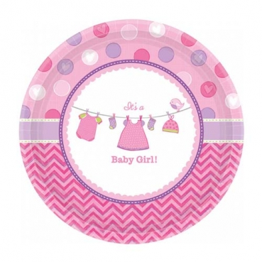 8 Kuchenteller Baby Shower Party, Baby Girl, 17,8 cm