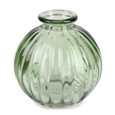 Kleines Glas Kugel Väschen, gestreift in Dunkelgrün, 85 mm