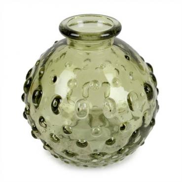 Kleines Glas Kugel Väschen mit Punkten in Grün, 85 mm