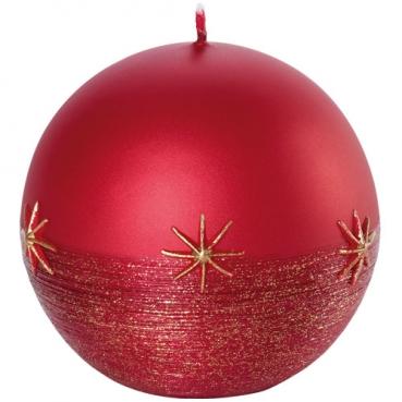 Kugelkerze Weihnachten, Sterne in Rot/Gold, 80 x 80 mm