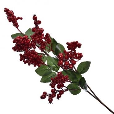 Deko Zweig mit großen und kleinen Beeren in Rot, 60 cm