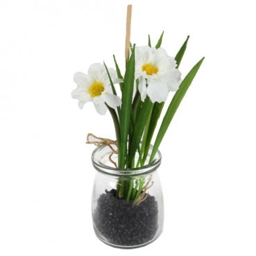 Kunstblume Margeriten im Glas, 16 cm
