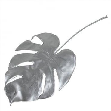 Kunstblume Monstera Dekoblatt in Silber, 37 cm