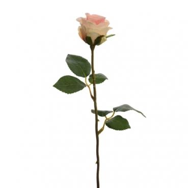 Kunstblume Rose in Creme/Rosa, 45 cm