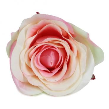 Kunstblume Rosenkopf am Draht in Creme-Rosa, Rosenkopf ca. 90 mm