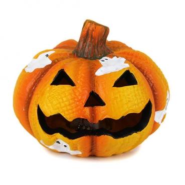 Keramik Halloween Kürbis Gesicht mit bunter LED Beleuchtung Nr. 1, 75 mm