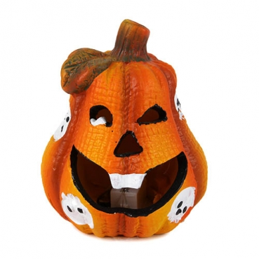 Keramik Halloween Kürbis Gesicht mit bunter LED Beleuchtung Nr. 2, 10 cm