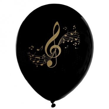 8 Luftballons Noten, Musik in Schwarz/Gold