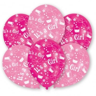 6 Luftballons Taufe, Baby -It's a Girl- in Rosa/Pink