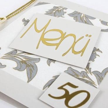 Menükarte Goldene Hochzeit Elegante Ornamente