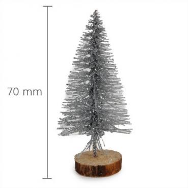 Mini Glitzer Tannenbaum, Weihnachtsdeko in Silber, 70 mm