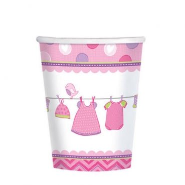 8er Pack Becher Baby Shower Party, Baby Girl