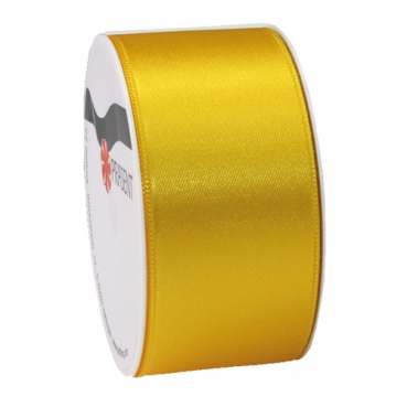 5 Meter Satin Band, schmal, in Gelb, 40 mm