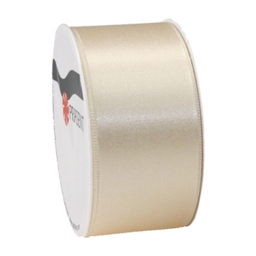 5 Meter Satin Band, schmal, in Creme, 40 mm