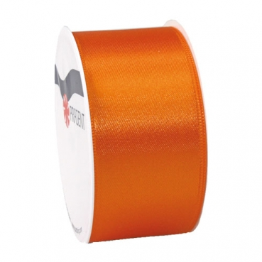 5 Meter Satin Band, schmal, in Orange, 40 mm
