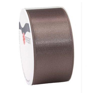 5 Meter Satin Band, schmal, in Taupe, 40 mm