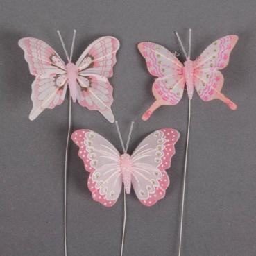 3er Set Schmetterlinge am Draht in Rosa mit Glitzer, 75 - 80 mm