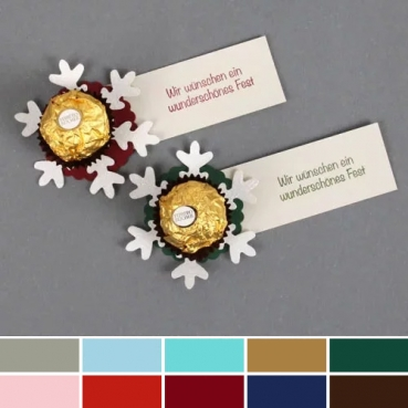 16 Gastgeschenke Weihnachtlicher Schokogruß, Glitzer Schneeflocke in 10 Farben