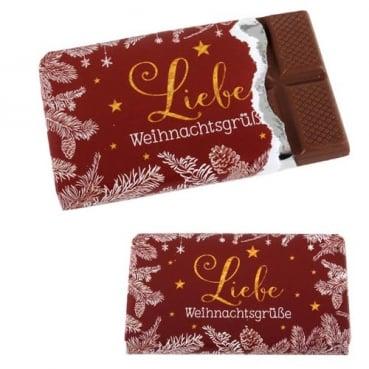 Gastgeschenk Schokolade -Liebe Weihnachtsgrüße-