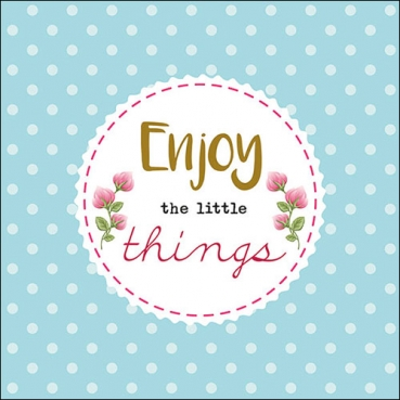 20er Pack Servietten -Enjoy the little things- in Mintblau, 33 x 33 cm