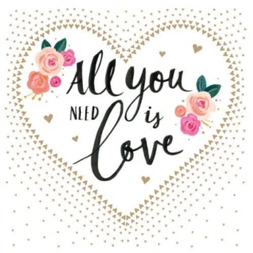 20er Pack Servietten Hochzeit, Herzen, -All you need is love-, 33 x 33 cm