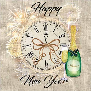 20er Pack Servietten Silvester Uhr -Happy New Year-, 33 x 33 cm