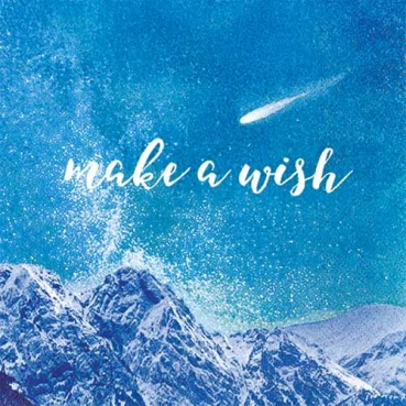 20er Pack Servietten Sternschnuppe -make a wish- in Blau, 33 x 33 cm